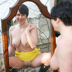 Sexy And Horny Facing A Mirror - Big Tits, Boots, Brunette Hair, Exposed In Public, Firm Tits, Hanging Tits, No Panties, Nude Outdoors, Perfect Tits, Short Hair, Showing Tits, Spread Legs, Trimmed Pussy, Upskirt, Sexy Body, Sexy Boobs, Sexy Girl, Sexy Legs, Sexy Woman