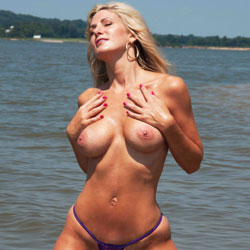 Blonde Showing Big Tits At The Beach - Big Tits, Bikini, Blonde Hair, Firm Tits, Huge Tits, Large Breasts, Nipples, Nude Beach, Nude In Nature, Nude Outdoors, Showing Tits, Topless Outdoors, Water, Beach Tits, Beach Voyeur, Hot Girl, Sexy Boobs, Sexy Face, Sexy Girl, Sexy Legs