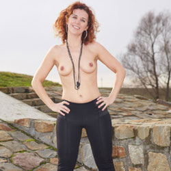 Topless Lena In Outdoor - Big Tits, Hard Nipple, Nipples, Nude In Nature, Redhead, Small Tits, Topless Outdoors, Sexy Body, Sexy Figure, Sexy Girl, Sexy Legs