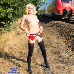 Nude Blonde At The Railway - Big Tits, Blonde Hair, Exposed In Public, Firm Tits, Flashing, Nipples, Nude In Public, Nude Outdoors, Shaved Pussy, Short Hair, Showing Tits, Hairless Pussy, Sexy Body, Sexy Figure, Sexy Girl, Sexy Legs, Sexy Lingerie