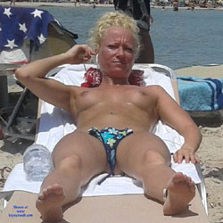 Topless Blonde At The Beach - Bikini, Blonde Hair, Firm Tits, Hard Nipple, Nipples, Nude Beach, Beach Tits, Beach Voyeur, Sexy Body, Sexy Girl, Sexy Legs