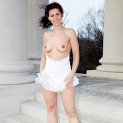 Topless Lena In White Skirt Wearing Heels - Big Tits, Black Hair, Firm Tits, Heels, Nipples, Nude In Public, Nude Outdoors, Showing Tits, Skirt, Topless Girl, Topless, Sexy Body, Sexy Boobs, Sexy Girl, Sexy Legs