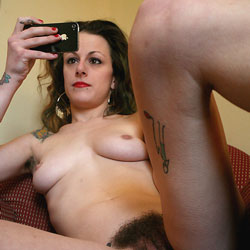 Selfies In A Chair - Big Tits, Brunette, Bush Or Hairy