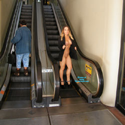 Nude Blonde At The Escalator - Big Tits, Blonde Hair, Exposed In Public, Flashing, Heels, Nude In Public, Perfect Tits, Shaved Pussy, Showing Tits, Sexy Body, Sexy Boobs, Sexy Girl, Sexy Legs