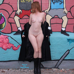 Nude Redhead At Graffiti Wall - Artistic Nude, Boots, Erect Nipples, Exposed In Public, Nipples, No Panties, Nude In Public, Redhead, Shaved Pussy, Short Hair, Showing Tits, Small Tits, Hairless Pussy, Sexy Body, Sexy Figure, Sexy Girl, Sexy Legs