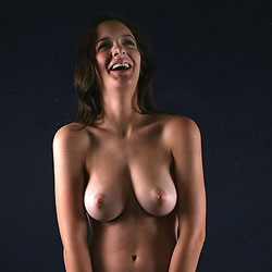 Naked Brunette In Smiling Pose - Big Tits, Brunette Hair, Full Frontal Nudity, Full Nude, Indoors, Nipples, Pussy Lips, Shaved Pussy, Hairless Pussy, Sexy Body, Sexy Boobs, Sexy Girl, Sexy Legs