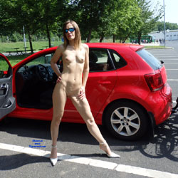 Naked Babe Beside A Car - Exposed In Public, Full Nude, Heels, Nipples, Nude In Public, Perfect Tits, Shaved Pussy, Short Hair, Small Tits, Sunglasses, Naked Girl, Sexy Body, Sexy Girl, Sexy Legs, Sexy Woman