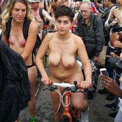 Nude Bike Race - Big Tits, Flashing Tits, Flashing, Nude In Public, Nude Outdoors, Showing Tits, Sexy Girl, Sexy Legs