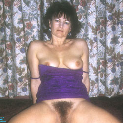 Yvonne Opens Her Legs - Bush Or Hairy, Brunette, Big Tits, Trimmed Pussy