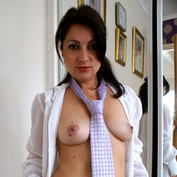 Nude Anna Wearing Neck Tie - Big Tits, Brunette Hair, Shaved Pussy, Spread Legs, Sexy Body, Sexy Legs, Sexy Wife