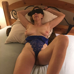 Seducing Pantie Pose On Bed Showing Tits - Bed, Big Tits, Hairy Bush, Milf, Naked In Bed, Sexy Legs, Sexy Lingerie, Sexy Panties, Toys, Wife/Wives