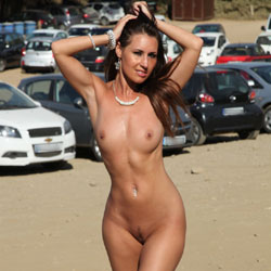Naked Brunette In Public - Big Tits, Brunette Hair, Exposed In Public, Nipples, Nude In Public, Trimmed Pussy, Naked Girl, Sexy Body, Sexy Legs