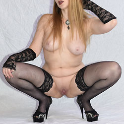 Nude Blonde In Heels And Stockings - Big Tits, Blonde Hair, Heels, Pussy Lips, Spread Legs, Stockings, Sexy Legs, Sexy Lingerie