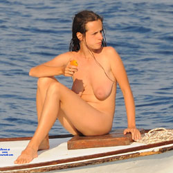 Naked On Boat At The Sea - Big Tits, Brunette Hair, Firm Tits, Hanging Tits, Nude In Nature, Nude Outdoors, Sexy Legs