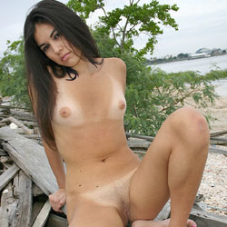 Naked Pose On The Shore - Brunette Hair, Erect Nipples, Full Nude, Naked Outdoors, Nipples, Nude In Nature, Nude Outdoors, Shaved Pussy, Small Tits, Spread Legs, Beach Voyeur, Sexy Body, Sexy Legs