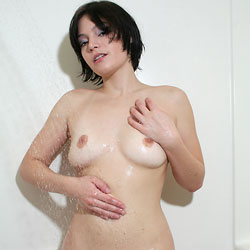 Wet And Wild Naked Babe - Big Tits, Brunette Hair, Erect Nipples, Hairy Bush, Nipples, Perfect Tits, Short Hair, Trimmed Pussy, Wet, Sexy Body, Sexy Legs