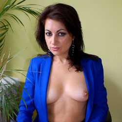 Nude Anna Wearing Blue Jacket and Black Shirt - Big Tits, Brunette Hair, Chair, Firm Tits, Nipples, Trimmed Pussy, Sexy Body