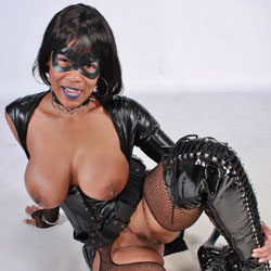 Cosplay Raven Showing Tits and Pussy - Big Tits, Brunette Hair, Heels, Trimmed Pussy, Sexy Boobs, Ebony, Costume