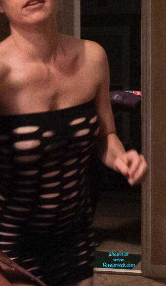 Pic #1 Answering The Door For Pizza - Brunette, See Through, Wife/wives