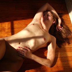 Naked On Hardwood Floor - Brown Hair, Full Nude, Indoors, Lying Down, Natural Tits, Shaved Pussy, Small Tits, Sexy Body, Sexy Legs, Amateur