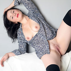 Red Lips Veronik Showing Pussy - Big Tits, Brunette Hair, Perfect Tits, Pussy Lips, Red Lips, Shaved Pussy, Sexy Legs