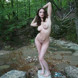 Creek Path - Public Place, Big Tits, Brunette, Outdoors, Nature, Bush Or Hairy, Pussy, Natural Tits, Round Tits, Firm Ass, Round Ass, Beautiful Ass, Hard Nipples, Young Woman, Long Legs, Long Nipples