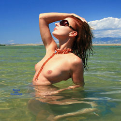 Summer Beach Nudity - Nude In Nature, Nude Outdoors, Redhead, Showing Tits, Sunglasses, Water, Wet, Beach Tits, Beach Voyeur, Naked Girl, Sexy Face, Sexy Woman