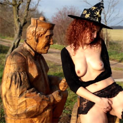 Lena - Witch Party - Big Tits, Masturbation, Outdoors, Redhead, Shaved, Softcore, Costume, Girls Stripping