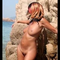 Half Profile Of Standing Nude Girl - Landing Strip, Natural Tits, Naked Girl, Nude Amateur