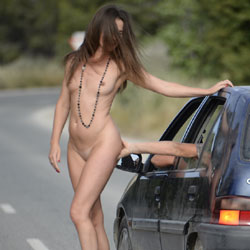 Naked Along The Road - Brunette Hair, Exposed In Public, Flashing, Heels, Naked Outdoors, Nude In Public, Nude Outdoors, Shaved Pussy, Small Breasts, Small Tits, Hot Girl, Naked Girl, Sexy Body, Sexy Face, Sexy Figure, Sexy Girl, Sexy Legs, Sexy Woman