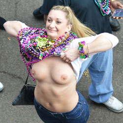 Flashing Blonde In Mardi Gras - Big Tits, Blonde Hair, Exposed In Public, Flashing Tits, Flashing, Hard Nipple, Nipples, Nude In Public, Nude Outdoors, Showing Tits, Hot Girl, Sexy Boobs, Sexy Face, Sexy Girl