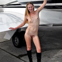 My Plane And My Blonde Girl - Blonde Hair, Boots, Exposed In Public, Hairy Bush, Hairy Pussy, Naked Outdoors, Nude In Public, Nude Outdoors, Small Breasts, Small Tits, Hot Girl, Naked Girl, Sexy Face, Sexy Figure, Sexy Girl, Sexy Legs, Amateur