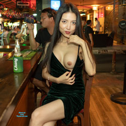 Flashing Tits In A Bar - Big Tits, Brunette Hair, Erect Nipples, Exposed In Public, Firm Tits, Flashing Tits, Flashing, Hard Nipple, Nipples, No Panties, Nude In Public, Showing Tits, Hot Girl, Sexy Body, Sexy Face, Sexy Figure, Sexy Girl, Sexy Legs, Amateur