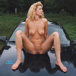 Heike On The Hood - Nude Girls, Big Tits, Blonde, Outdoors, Shaved, Amateur, legs spread wide open