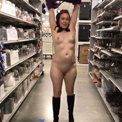 Crowded Store - Pantieless Wives, Public Exhibitionist, Flashing, Public Place, Shaved, Amateur
