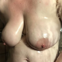 Extremely large tits of my wife - Wife in the shower again