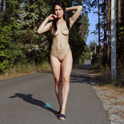 Brave Walk Along The Road - Nude Girls, Big Tits, Brunette, Public Exhibitionist, Flashing, Outdoors, Public Place, Shaved, Amateur, Firm Ass