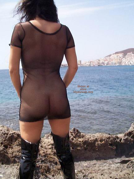 Pic #3 - See Thru Dress & Boots On A Windy Day