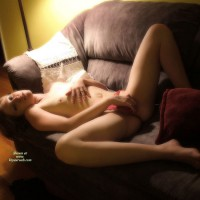Nude Girlfriend Spreading Her Legs On A Couch - Brown Hair, Long Hair, Long Legs, Red Hair, Small Tits, Spread Legs, Topless, Naked Girl, Nude Amateur, Sexy Girlfriend