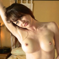 Arm Raised - Blue Eyes, Dark Hair, Large Breasts, Pale Skin, Perky Nipples