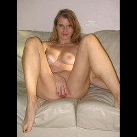 Big Tits Blonde Naked On Couch Spreading Her Legs - Big Tits, Blonde Hair, Blue Eyes, Milf, Looking At The Camera, Naked Girl, Nude Amateur