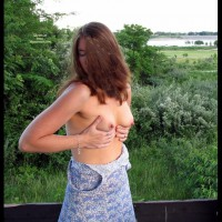 Wife Exposing Her Tits - Big Tits, Brown Hair, Erect Nipples, Hard Nipple, Long Hair, Topless