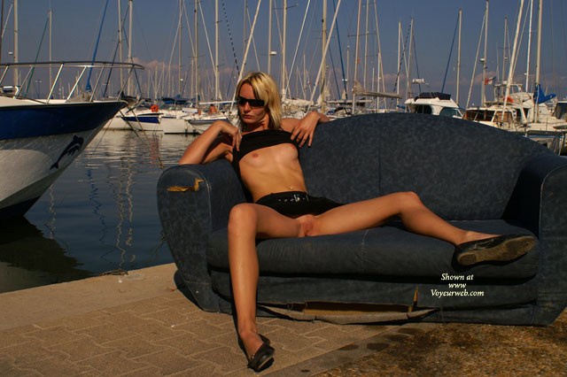 Pic #1 - Flashing Tits And Pussy At The Marina - Blonde Hair, Flashing , Sitting On An Old Sofa By The Water, Black Tank Top, Outdoor Tits And Pussy, Twat Shot, Spread At Harbor, Full Flash At The Marina, Sitting On A Couch Outdoor, Black Skirt