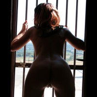 Bent Over ASS Silhouette - Brown Hair, Long Hair, Shaved Pussy, Naked Girl, Nude Amateur