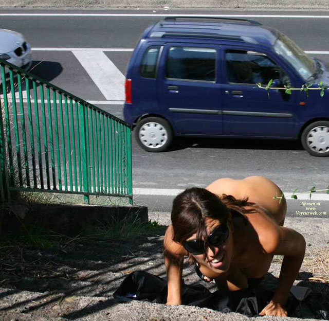 Pic #1 - Nude Girl In Public Beside Street - Brunette Hair, Flashing, Nude In Public, Naked Girl, Nude Amateur , Exhibtionist, Nude On Steps, Secret Pose Nude Outside, Crawling Up The Steps For The Passing Traffic, Nude On Stairs, Black Glasses, Crawling Up The Stairs Nude, Climbing Stairs Outside Naked, Climbing The Stairs On Her Knees