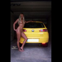 Outdoor Blonde Wide Shot Leaning On Car In Garage - Blonde Hair, Firm Tits, Long Hair, Naked Girl, Nude Amateur