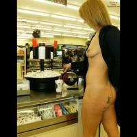 EIP Pouring Coffee Showing Boob And Ass - Blonde Hair, Erect Nipples, Flashing, Milf