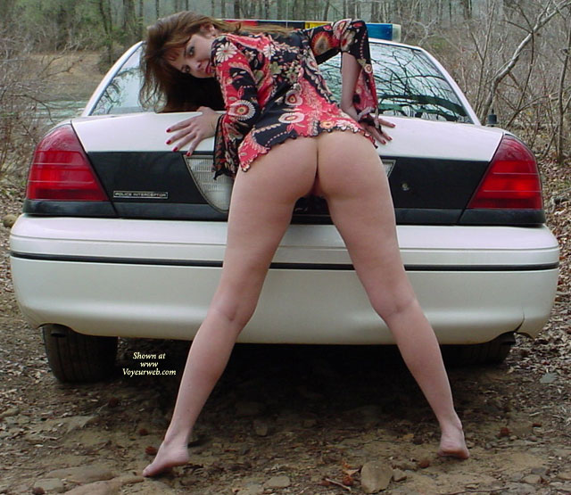 Pic #1 - Brunette Showing Ass And Legs On Police Car - Brunette Hair, Naked Girl, Nude Amateur , Spreading Legs On Police Car, Bottomless Leaning Bent Over The Back Of A Police Car, Buns Showing Bent Over On Tip Toes, Outside On Dirt Road Looking Over Shoulder, Retro Mod Shirt With No Pants Outside, Totally Bottomless, Nude In The Woods, Looking Over Shoulder, View From Behind, Half Naked By The Patrol