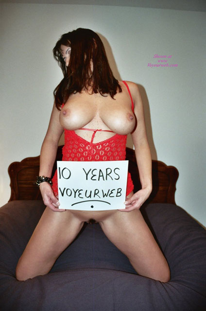 Pic #1 - Celebrateing 10 Years Of Voyeurweb! - Big Tits, Brown Hair, Large Breasts, Long Hair, Natural Tits , Long Straight Brown Hair, Thick Erect Nipples, Kneeling On Bed, Big Natural Tits, Party Time, Red Lingerie, Human Billboard, 10 Years Voyeurweb Sign