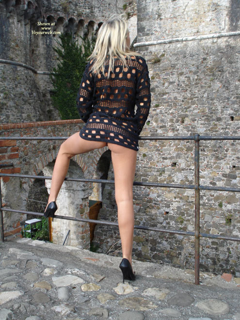Pic #1 - Pantyless Girl At A Castle - Flashing, Heels, Long Legs, Spread Legs , Pantyless In Castle, Pantyless, One Leg Up On Railing, Pantieless Woman On Bridge, Getting Air On The Pussy, Black See-through Top, Rear Pose With Leg Up, Kick Ass Shoes, Back Pose, Flashing In A Castle Ruin, High Heels And Pantyless Spread, Flashing Her Legs And Bum, See Through Shirt